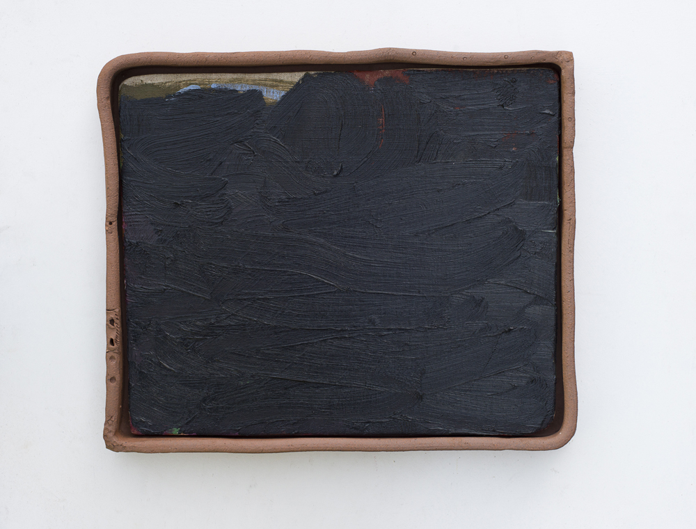JAKE WALKER  #0018  2016 oil on linen mounted on plywood, earthenware frame 40 × 48 cm
