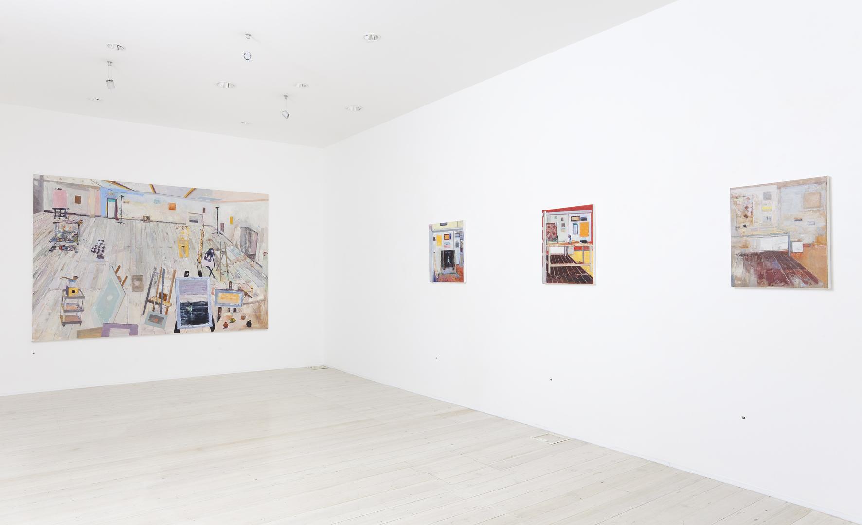 Installation view of Jelle Van Den Berg's paintings