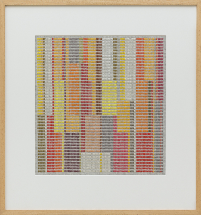 LOUISE TUCKWELL  Firmament Above the Temple  2016 cotton on linen tapestry size 43 × 39 cm framed size 68 × 63 cm