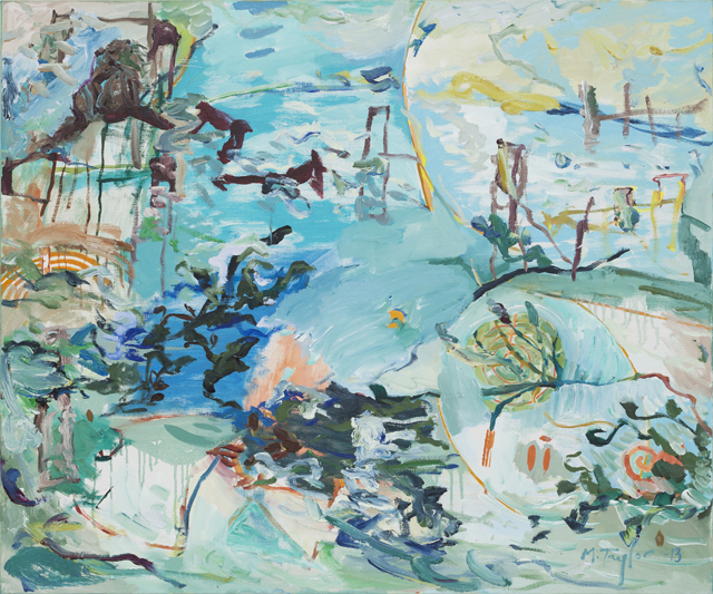 MICHAEL TAYLOR  Blue Bay  2013 oil and oil stick on linen 101 × 122 cm