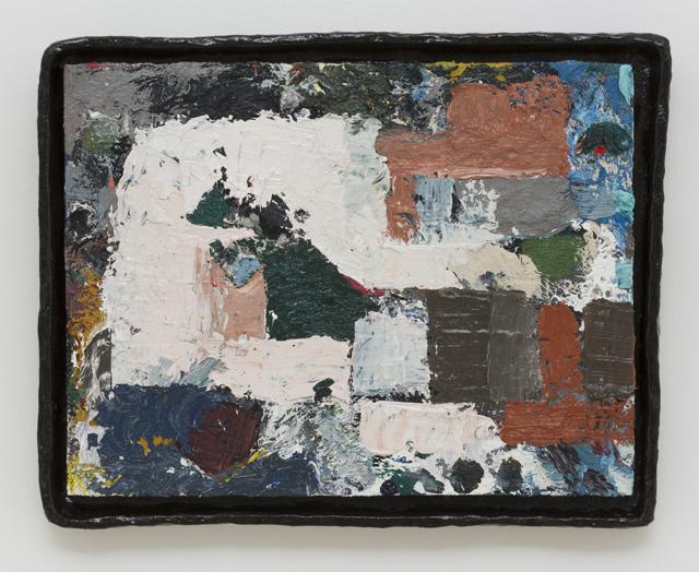 JAKE WALKER  Untitled painting 1  2011-13 oil on board in glazed stoneware artist's frame 35 ×45 cm