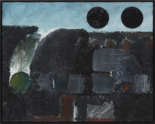 JAKE WALKER  Untitled painting 3 (dark circles)  2011-13 oil on board 41 ×51 cm