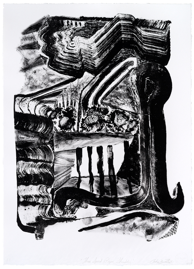 ANDRZEJ ZIELINSKI  Three speed paper shredder  2012 lithograph on magnani paper  61 × 44 cm Edition of 9