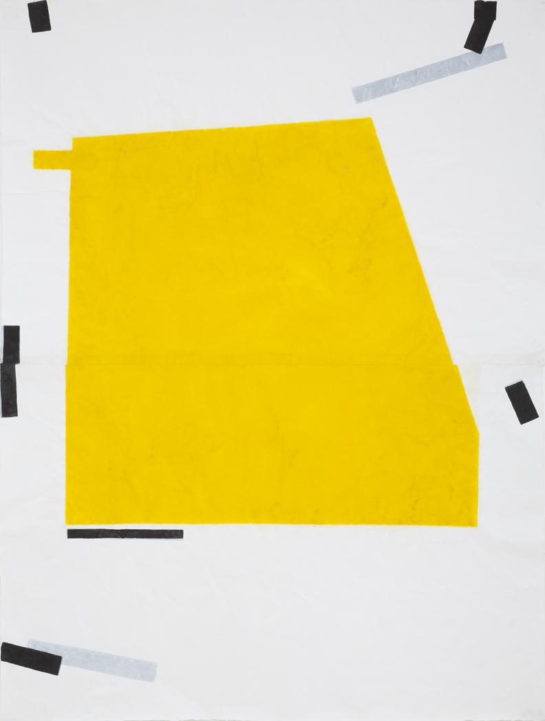 LYNNE EASTWAY Yellow Green Folded #3 2016 acrylic on belgian linen 33 × 28 cm