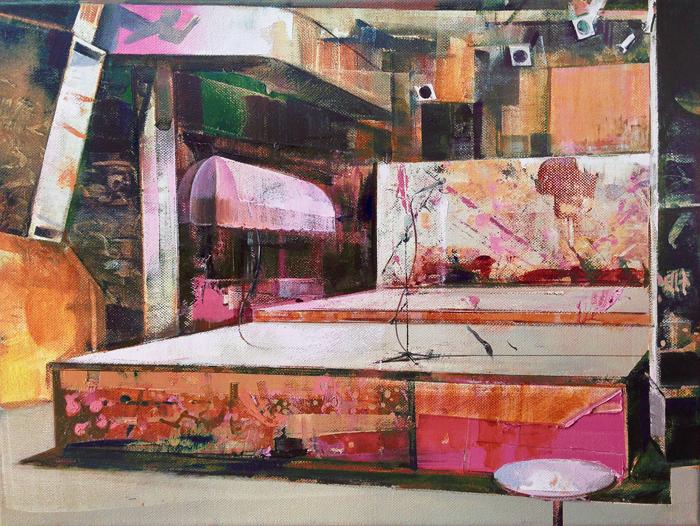 DAVID RALPH  GBGB's, R.I.Punk  2016 oil on canvas 30 × 40 cm