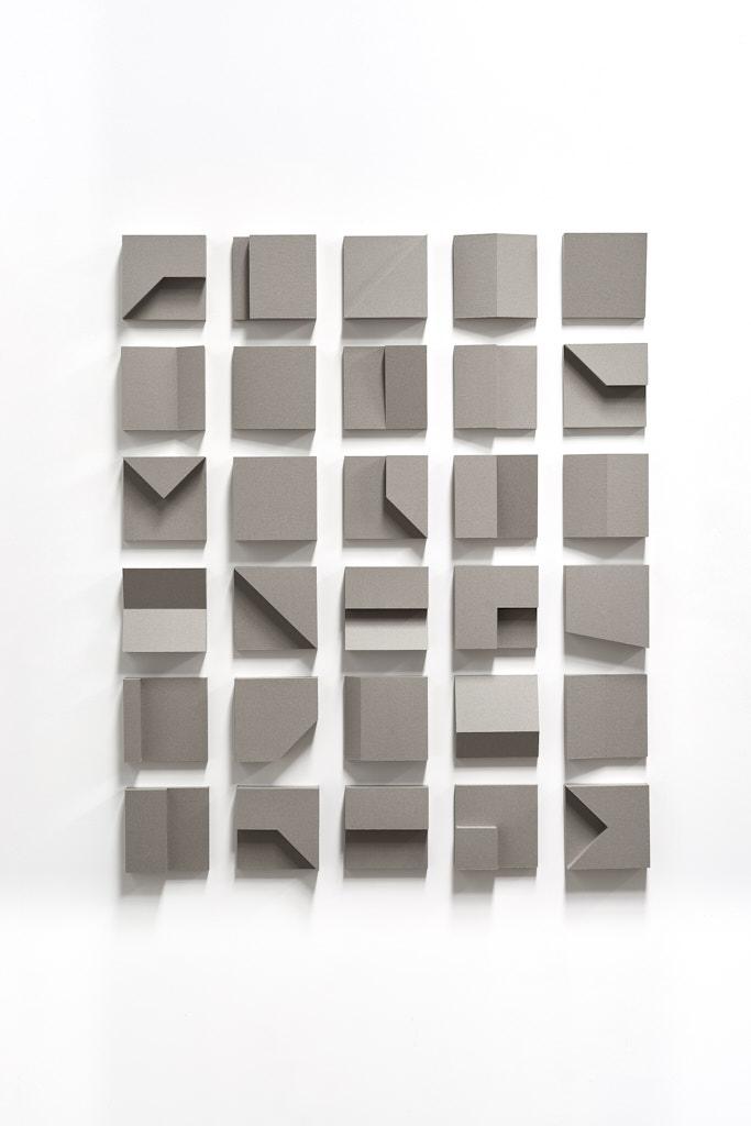 SUZIE IDIENS  Untitled (Study of 30, 15 x 15 x 5 cm) 2016 cardboard, glue 115 × 95 cm