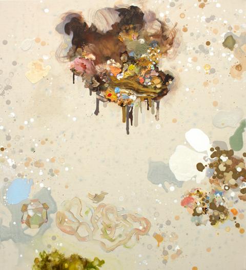 MARK RODDA  Nebula (Pebble Cluster)  2016 acrylic and oil on canvas 83 × 76 cm