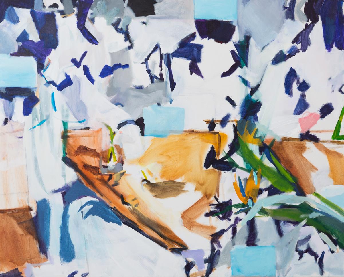 CATHERINE CLAYTON-SMITH  Desk Tiles (Matisse) 2016 acrylic on canvas 122 × 152 cm