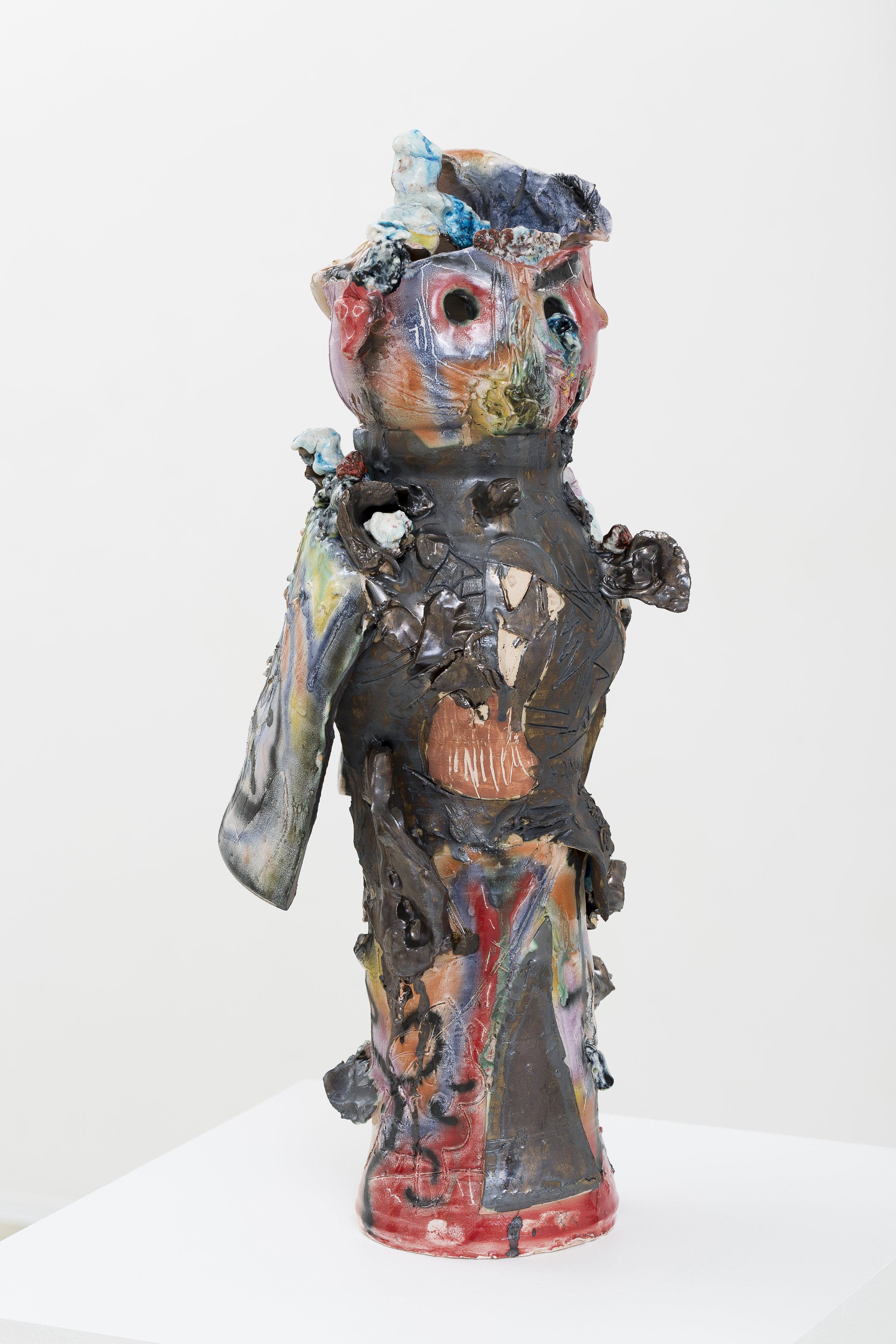 RYAN HANCOCK  Tall Space Boy 2016 glazed ceramic 65 × 40 × 30 cm