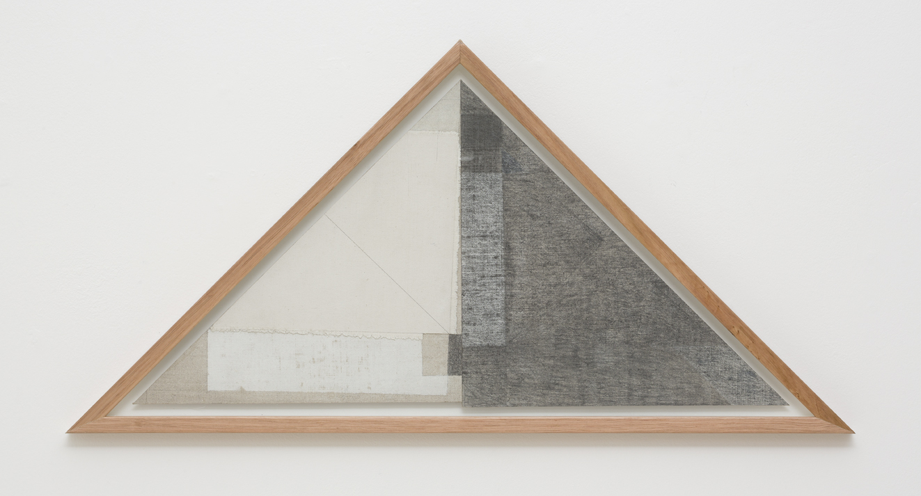 LYNNE EASTAWAY  Angle – TRI  2017 laminated linen and cotton duck, graphite, acrylic 31.5 × 63 cm 38 × 76 cm (framed)