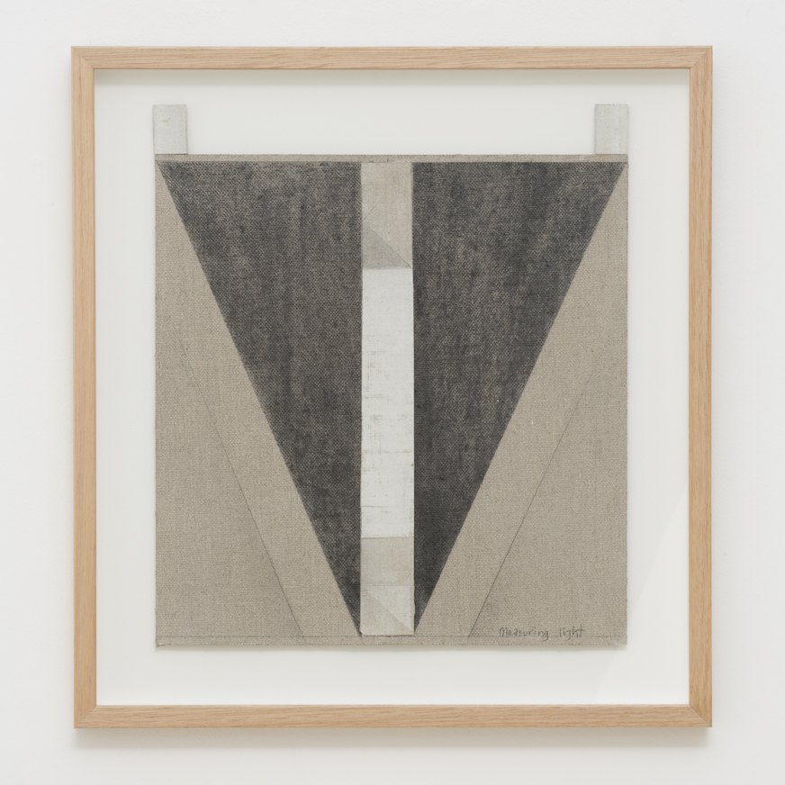 LYNNE EASTAWAY  Measuring Light  2017 laminated linen, graphite, acrylic 38 × 33 cm 43.5 × 40 cm (framed)