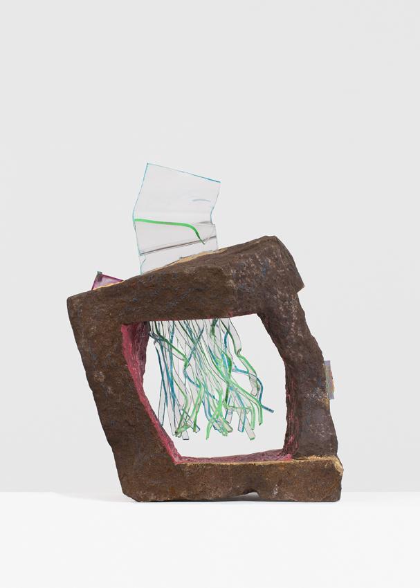 ANDRZEJ ZIELINSKI  Convalescing???  2016 Australian arkose sandstone, West Australian Variscite, perspex, encaustic and acrylic paint 61 × 50 × 28 cm