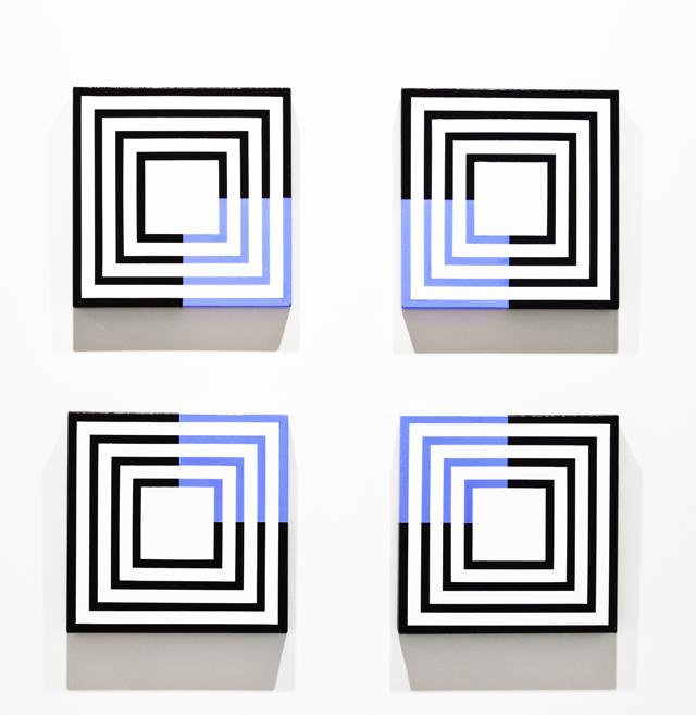 MAGDA CEBOKLI  Neon  2013 acrylic on canvas four paintings together 70 × 70 cm