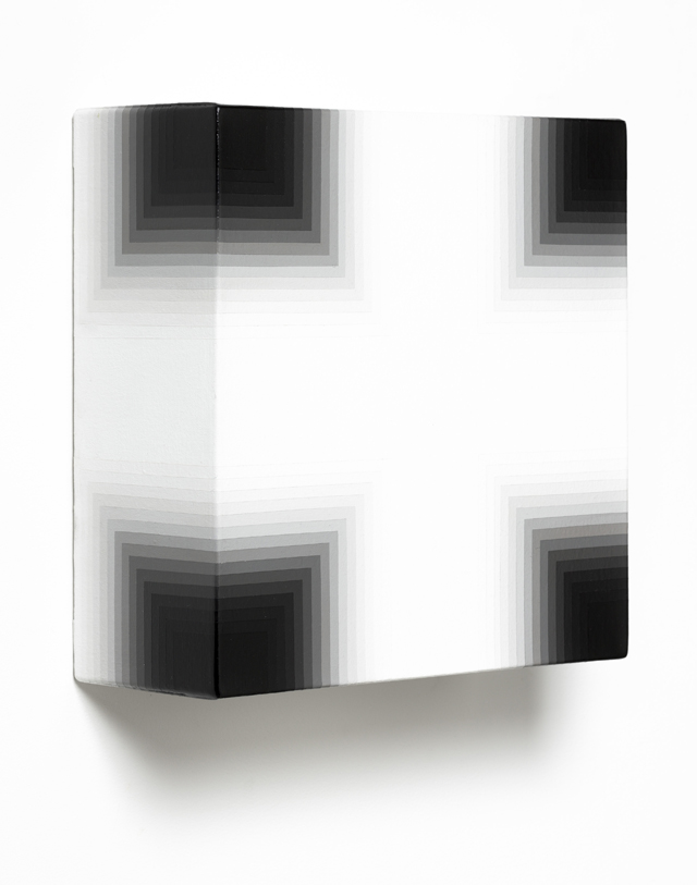 MAGDA CEBOKLI  White/Black  2014 acrylic on canvas 31 × 31 × 12 cm