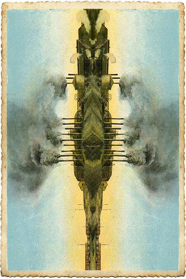 ADAM NORTON  Steampunk Spaceship  2015 pigment ink on card Edition of 3 + 1 AP 15 ×10 cm (framed)