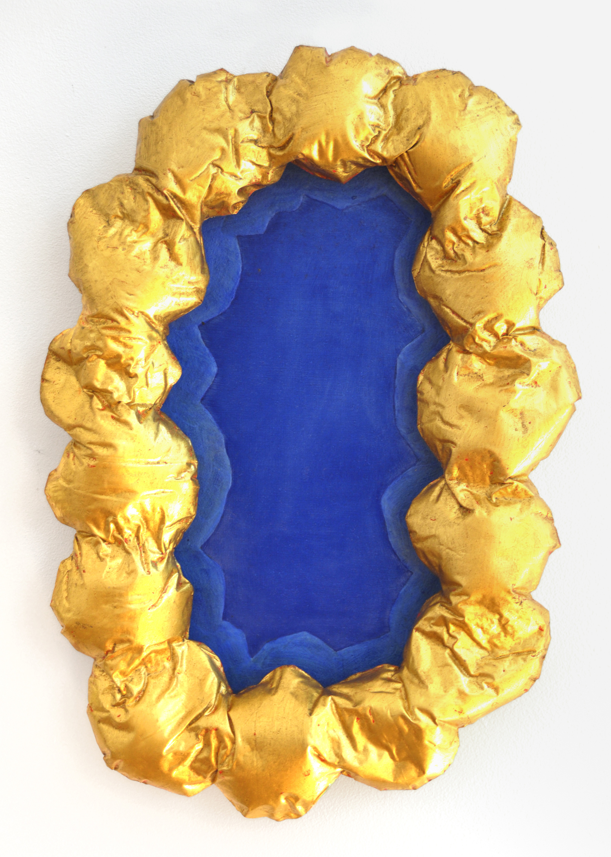 BELEM LETT  Pure Gold  2015 oil on aluminum composite panel, luminescent pigment, gypsum cement, 23k gold Leaf 52 × 36 × 6 cm