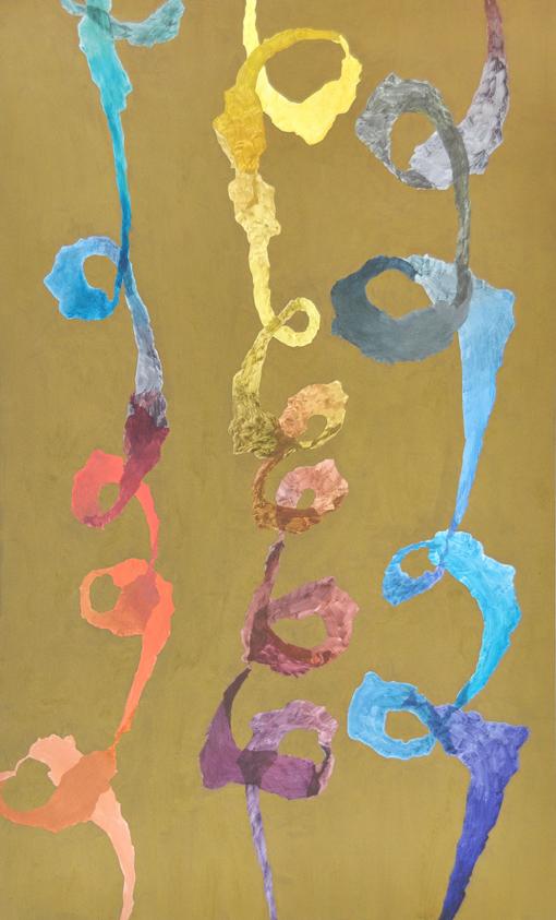 BELEM LETT  Spiraling  2015 oil, luminescent pigment on aluminium composite panel 152 × 92 cm