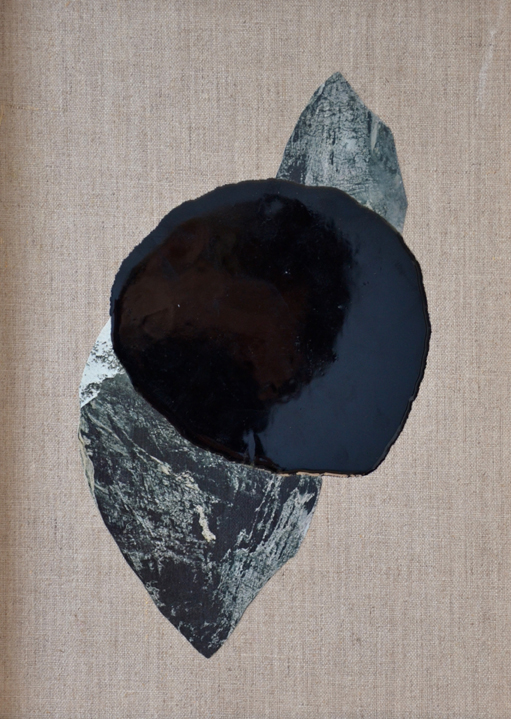 ELOISE KIRK  Eyot  2015 collage and resin on linen 20 × 30 cm