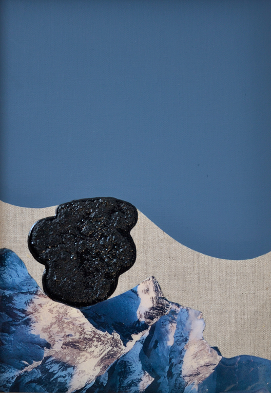 ELOISE KIRK  River of Ice 1  2015 Acrylic, resin and collage on linen 30 × 20 cm