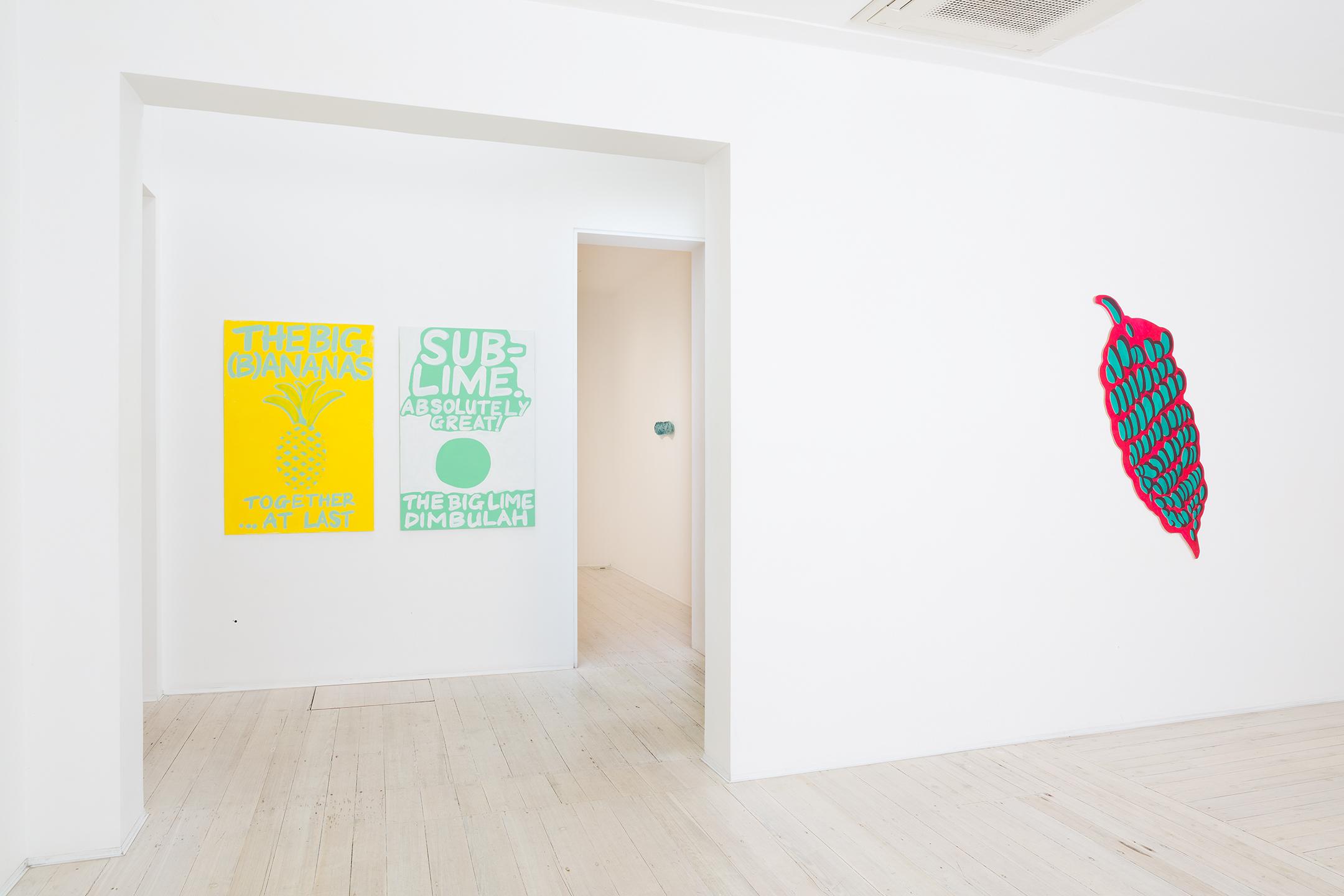 SEAN RAFFERTY    (B)ANANAS  2015 (left) Acrylic on plywood 120 × 80 cm   Sub-lime  2015 (middle) Acrylic on plywood 120 × 80 cm   Bananas  2014 (right) Oil and acrylic on plywood 144 × 54 cm
