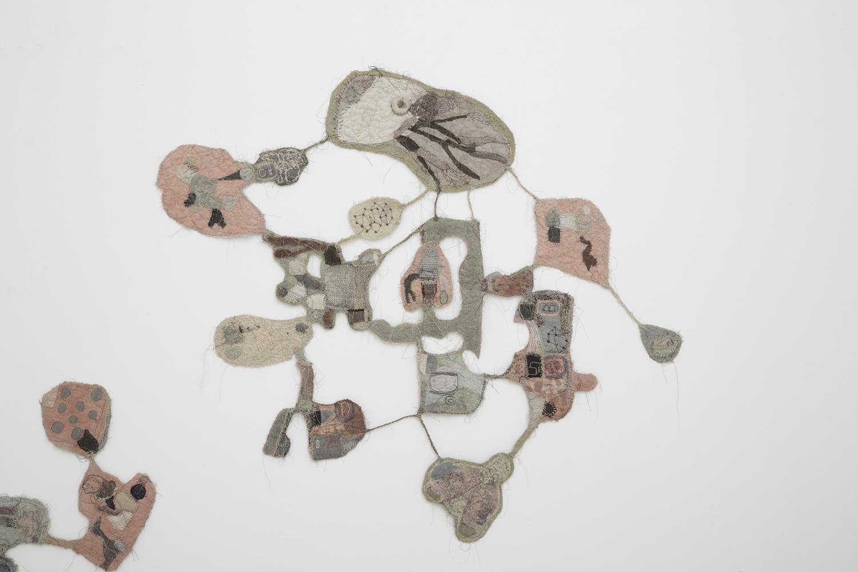 JADE PEGLER  Acephala  2017 fabric, thread, yarn, hand and machine stitching, gojiru and pigments, mixed media 73 × 81 cm