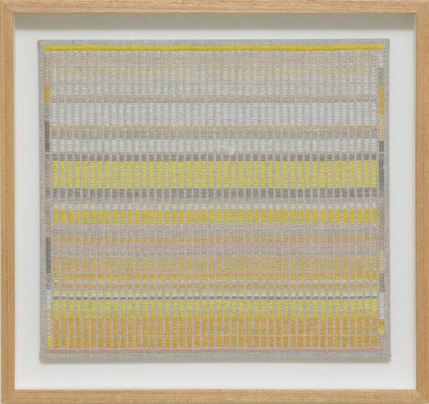 LOUISE TUCKWELL  Ghosts in Limbo  2017 cotton on linen 49 × 52 cm (framed)
