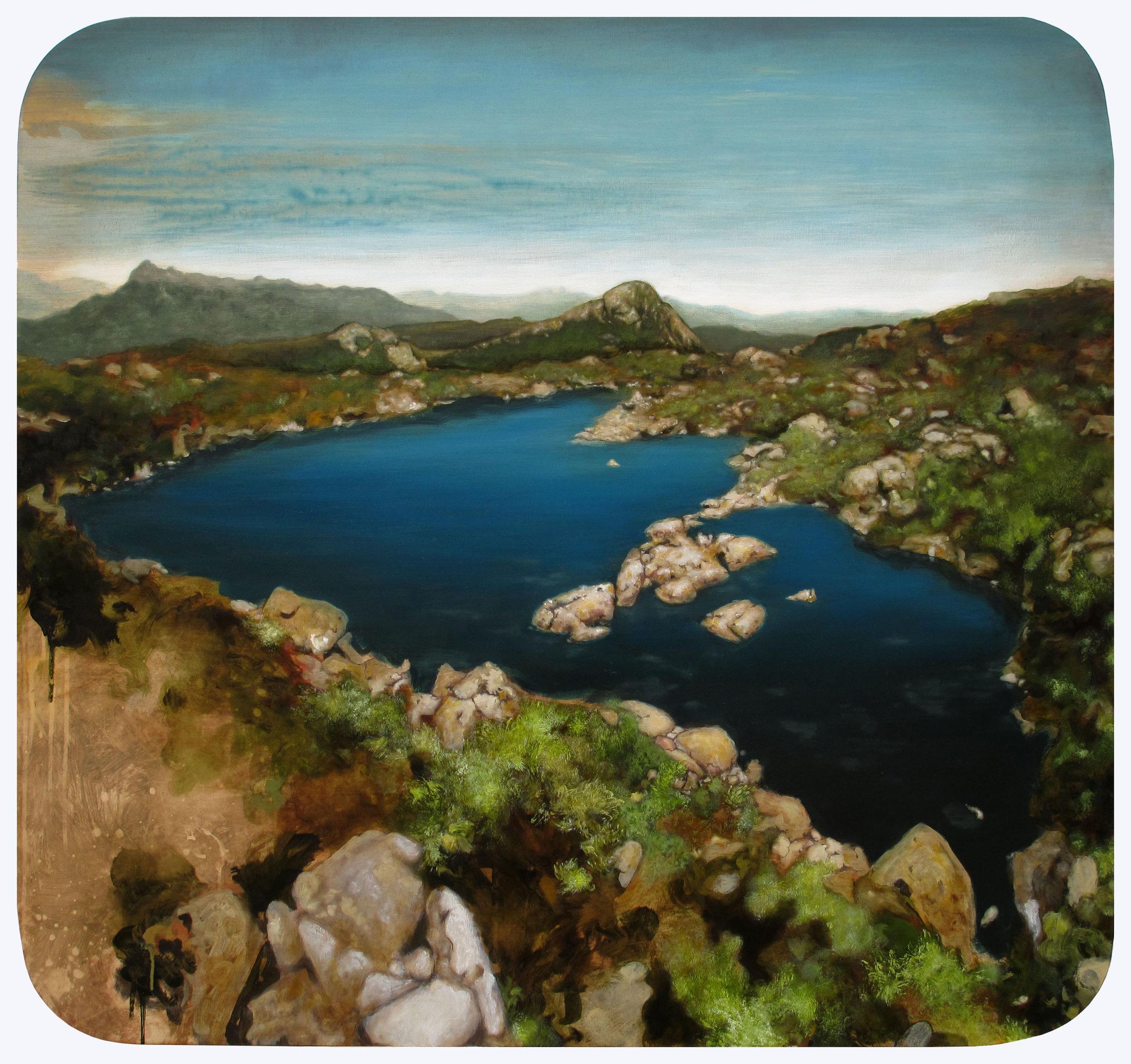 MARK RODDA  Looking South-East from the Mt Eliza Plateau, Tasmania  2014  acrylic and oil on marine ply 103 × 110 cm