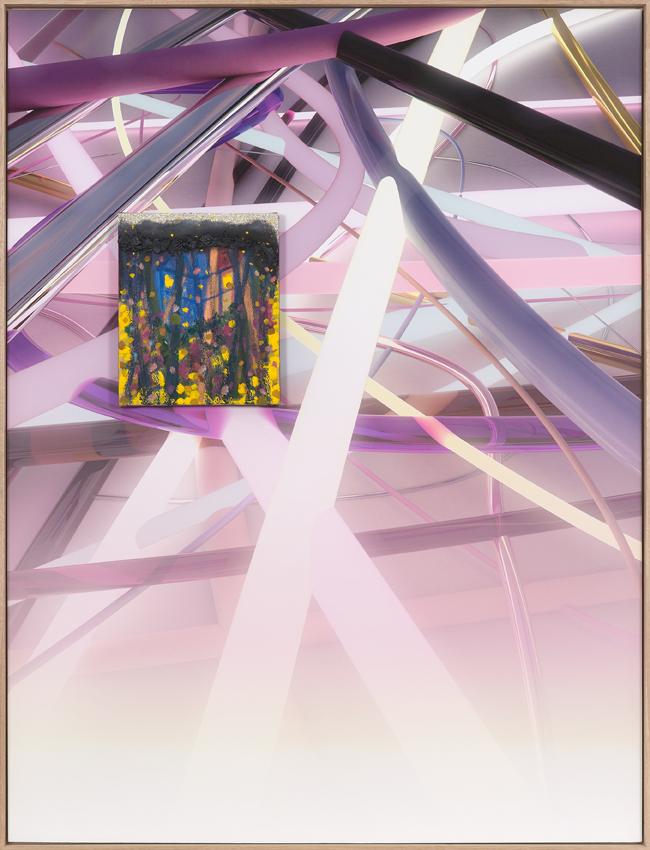 PETER ALWAST  Heidegger's Hut  2016 mixed media on linen mounted on giclee print 133 × 101.5 cm