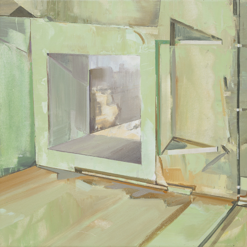 DAVID RALPH  Trace (Halle 18 Spinnerei, Leipzig)  2017  oil on canvas 40 × 40 cm