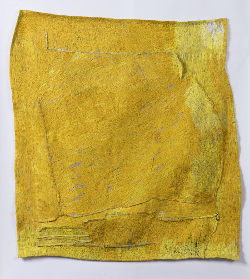 TEELAH GEORGE  Sun Piece 2018 thread on linen 100 × 92 cm