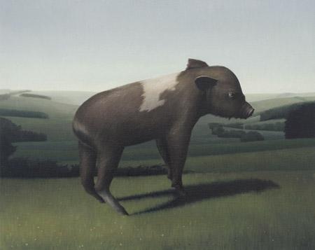 SIMON KENNEDY  Piggy  2009 oil on canvas 30.5 × 51 cm