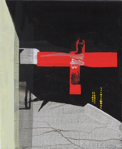 JULIAN HOOPER  Shortcut  2012 acrylic on linen 28 × 23 cm
