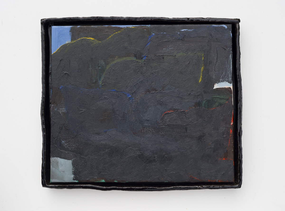 JAKE WALKER  Black Clouds  2015 oil on linen with glazed stoneware frame 39.5 × 45 cm