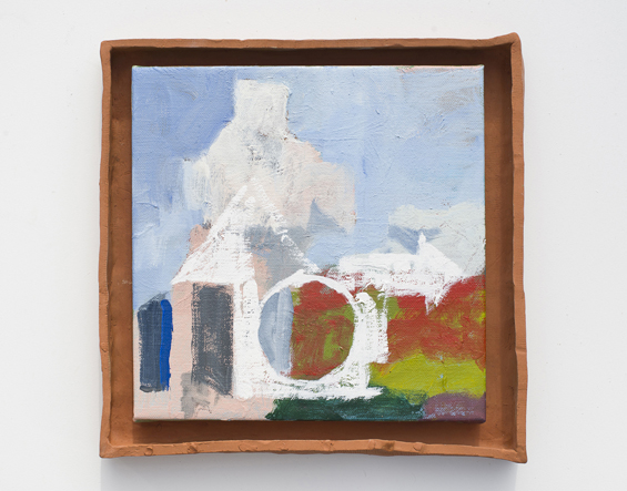 JAKE WALKER  Untitled  2015 oil on linen with earthenware frame 40 × 40 cm