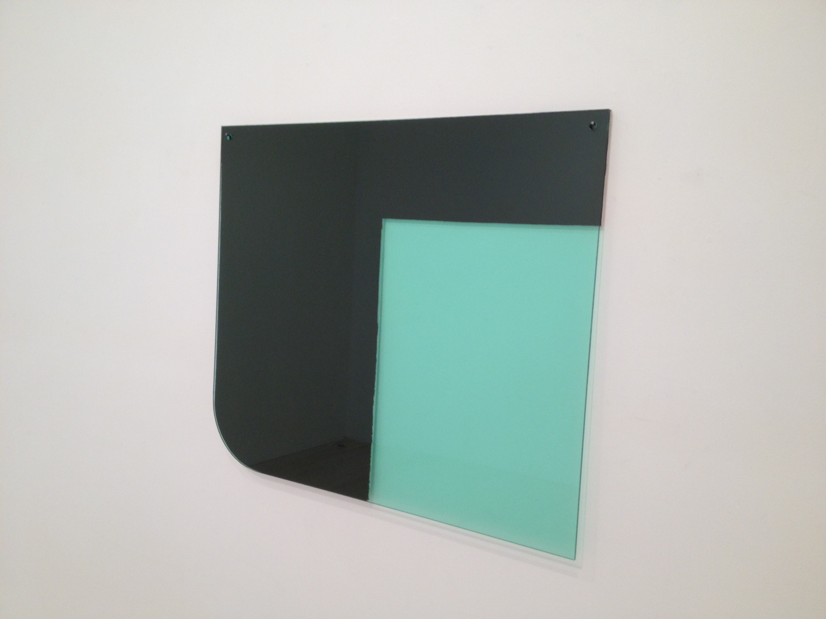 SIMON BLAU Green rectangle  2012  acrylic and Perspex over board 53 × 81 cm