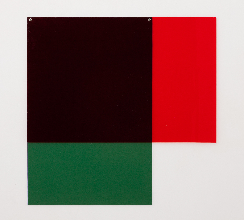 SIMON BLAU Red over green 2  2012 perspex and acrylic over board 80 × 80 cm