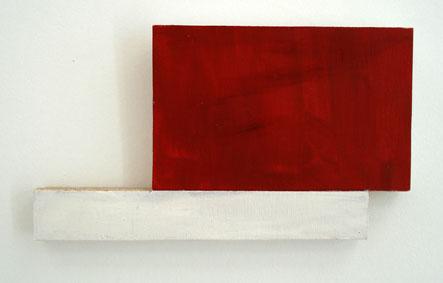 SIMON BLAU  Red Oblong 2007 acrylic on plywood 15.5 ×28 cm