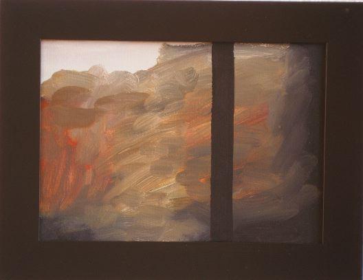SIMON BLAU Dark Window 2006 acrylic on paper - on board  22 × 31.5 cm