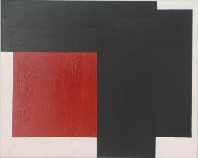 SIMON BLAU   Black Overlap  2006 oil & enamel on polyester 61 × 76 cm