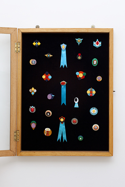 MICHELLE HANLIN  Cabinet of Adornments  2010                                                                   Mixed media badges dimensions variable