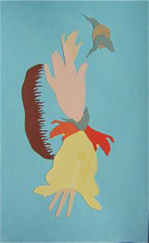 MICHELLE HANLIN  Apprentice 2008  acrylic paint, cardboard, plywood and wood stain 46 ×32 cm