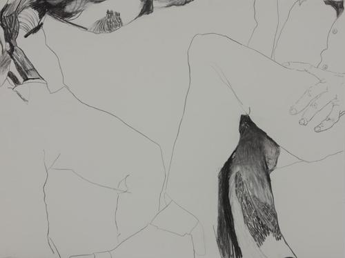 TONEE MESSIAH  Waiting Room B 2009 charcoal on paper 76 ×57.5 cm