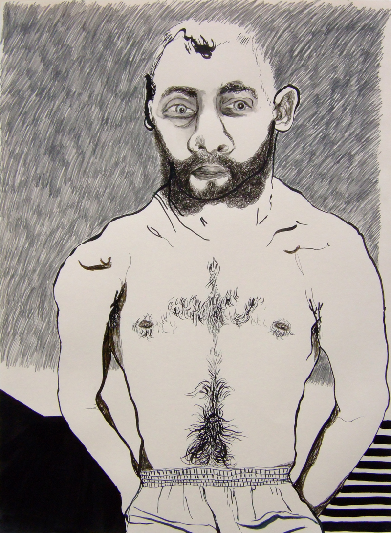 TONEE MESSIAH  On The Straight And Narrow 2007 ink, pencil on paper 76 ×57 cm