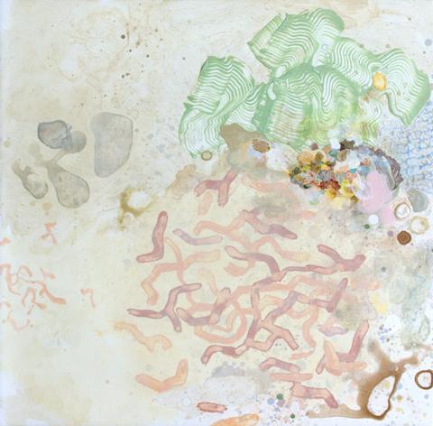 MARK RODDA  Nebula (Ribbon, Matrix)  2016 acrylic and oil on board 40 × 41 cm (framed)