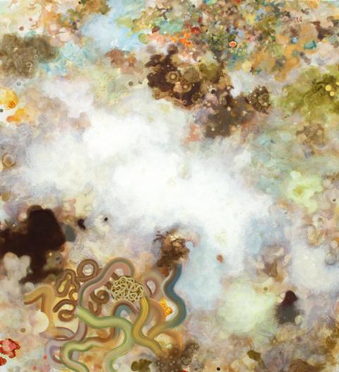 MARK RODDA  Nebula (Tendril)  2016 acrylic and oil on board 83 × 76 cm