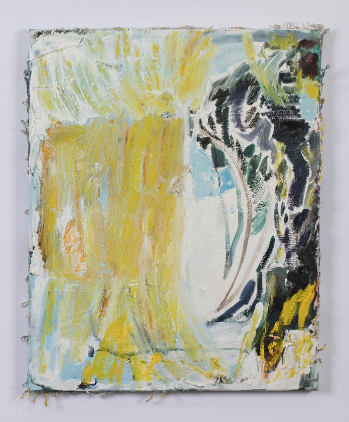 TEELAH GEORGE  A soft gap 2017 oil, cotton twine on canvas 79 × 63 cm