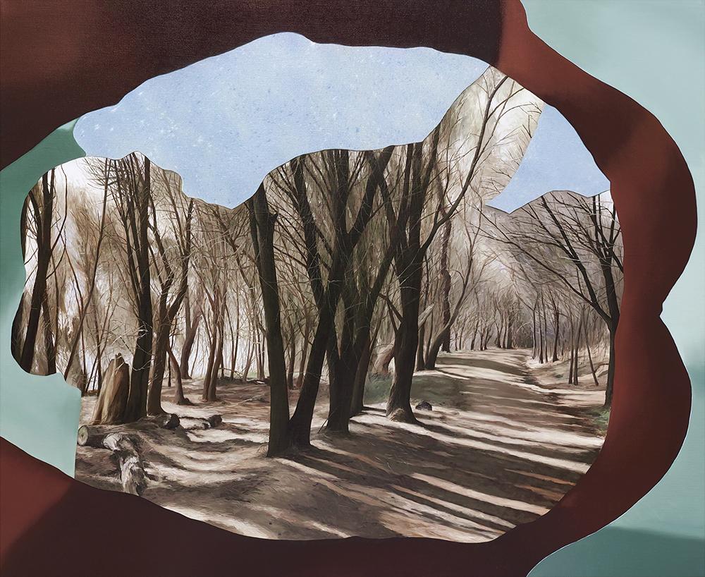 ALICE WORMALD  Walk through an altered aperture 2018 oil on linen 73 × 88 cm (framed)