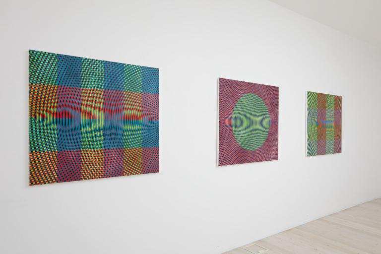 Installation view of John Aslanidis's paintings