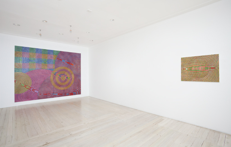 Installation view of John Aslanidis's paintings