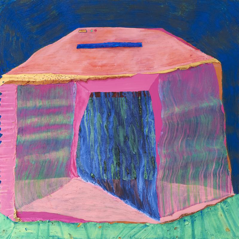 ANDRZEJ ZIELINSKI  Blue Shredded  2011 acrylic on linen 116 ×116 cm